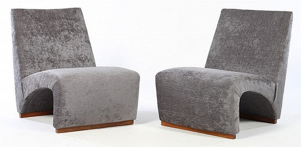Unique Pair Of Italian Mid-Century Modernist Slipper Chairs - Art Deco Antiques  - 1