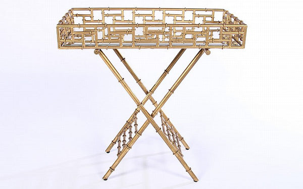 Beautiful Gilt Bamboo Bar Tray - Art Deco Antiques  - 1