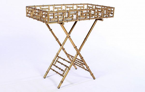 Beautiful Gilt Bamboo Bar Tray - Art Deco Antiques  - 2