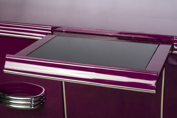 Posh Streamlined Art Deco Sideboard In Plum - Art Deco Antiques  - 3