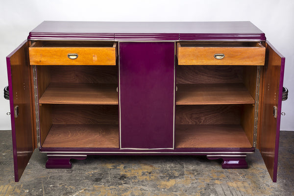 Posh Streamlined Art Deco Sideboard In Plum - Art Deco Antiques  - 4