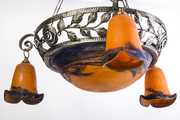 Beautiful Art Deco Chandelier By Degue - Art Deco Antiques  - 2