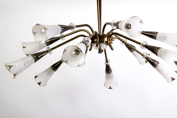 Mid-Century Genet et Michon Chandelier With Shades by Sevres - Art Deco Antiques  - 2