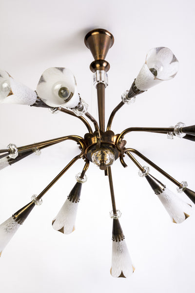 Mid-Century Genet et Michon Chandelier With Shades by Sevres - Art Deco Antiques  - 6