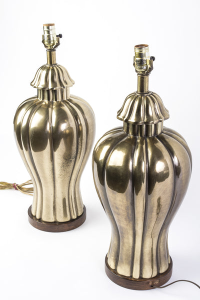 Elegant Pair of 1970's Vintage Frederick Cooper Brass Jar Lamps - Art Deco Antiques  - 2