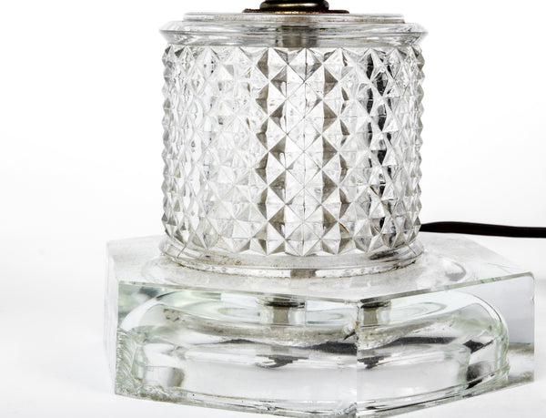 Luxe Pair of 1940's Stacked Crystal Table Lamps