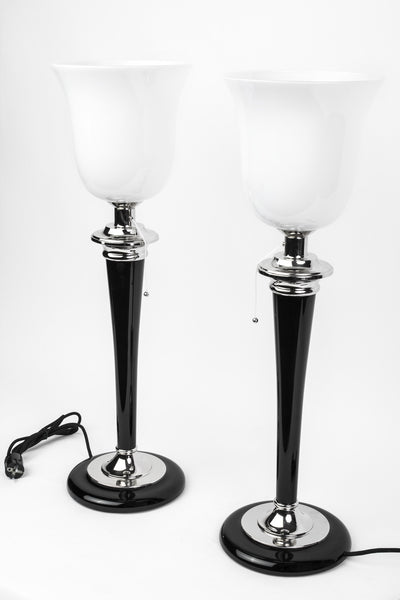 Beautiful Pair Of Art Deco Style Table Lamps designed by Mazda