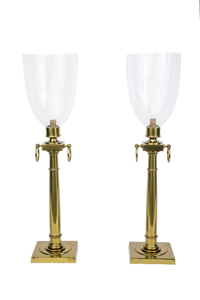 Magnificent Pair Of Mid-Century Modernist Hurricane Lamps By Tommi Parzinger - Art Deco Antiques  - 2