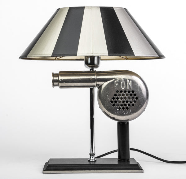 Impressive 1940's Art Deco Chrome Table Lamp with Sculptural Antique Hair Dryer