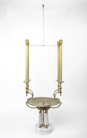 Brass Hardware And Marble Base Table Lamp by Tommi Parzinger