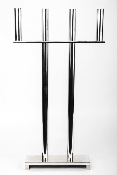 Silver Plated And Lacquered Candlestick In The Style Of Hagenauer