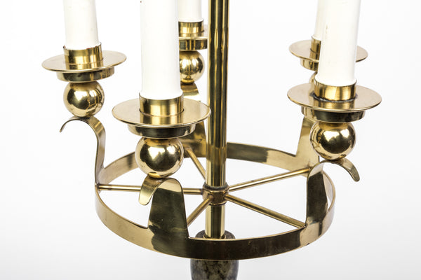 Brass Hardware And Faux Marble Base Table Lamp In The Style of Parzinger