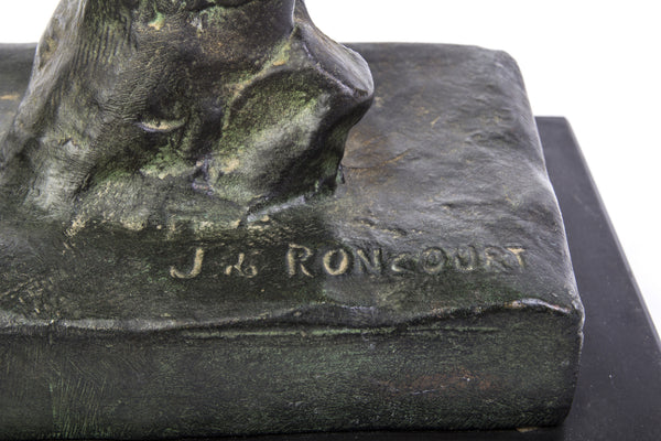 "John RONCOURT - Statue ART DECO ""human force"" - Regulates bronze patina - Art Deco Antiques  - 7"