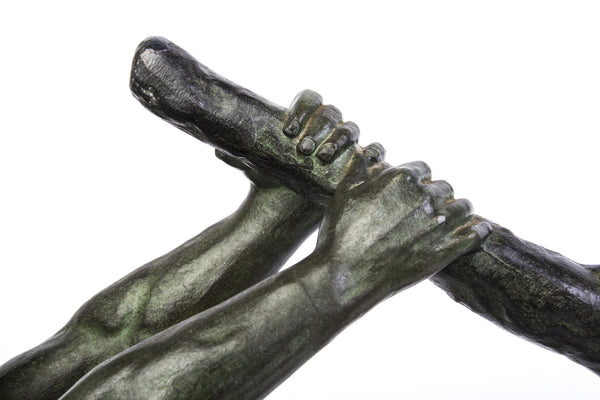 "John RONCOURT - Statue ART DECO ""human force"" - Regulates bronze patina - Art Deco Antiques  - 4"
