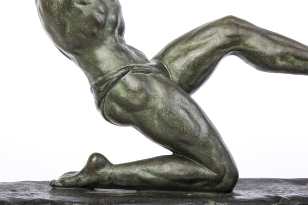 "John RONCOURT - Statue ART DECO ""human force"" - Regulates bronze patina - Art Deco Antiques  - 6"