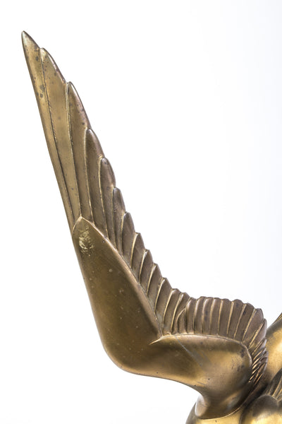 Bronze Sculpture Of Soaring Bird In Black Oval Marble - Art Deco Antiques  - 2