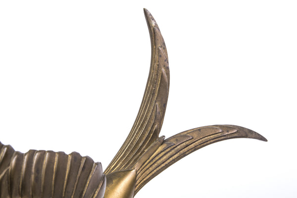 Bronze Sculpture Of Soaring Bird In Black Oval Marble - Art Deco Antiques  - 5