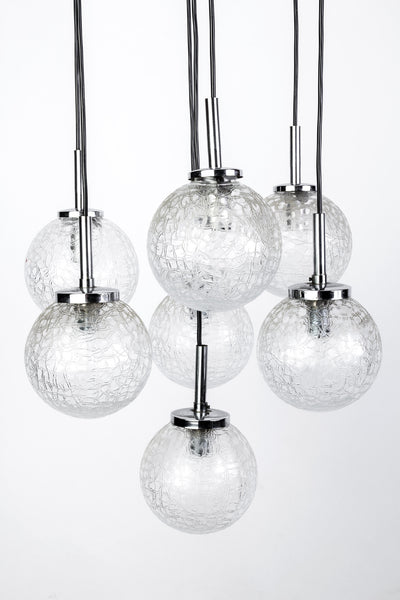 Stunning Mid-Century Modernist Glass Ball Pendant / Chandelier By Doria - Art Deco Antiques  - 2