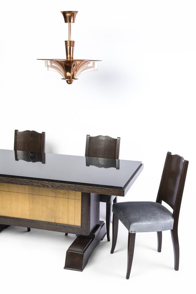 Unique Art Deco Dining Table In Tiger Oak by Alfred Porteneuve