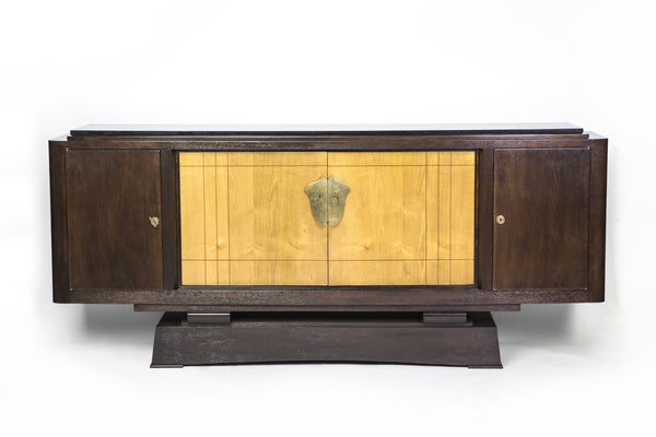 Unique Art Deco Dining Table In Tiger Oak by Alfred Porteneuve - Art Deco Antiques  - 5