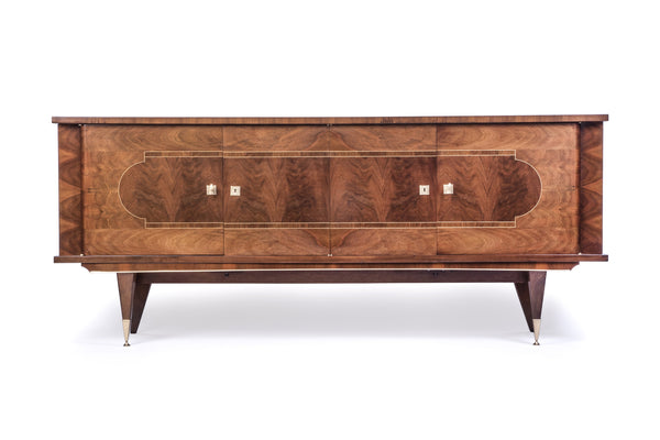 Luxe French Art Deco Buffet / Sideboard In Walnut - Art Deco Antiques  - 1