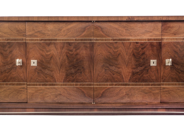 Luxe French Art Deco Buffet / Sideboard In Walnut - Art Deco Antiques  - 2