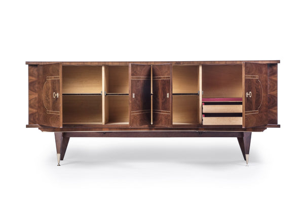 Luxe French Art Deco Buffet / Sideboard In Walnut - Art Deco Antiques  - 3