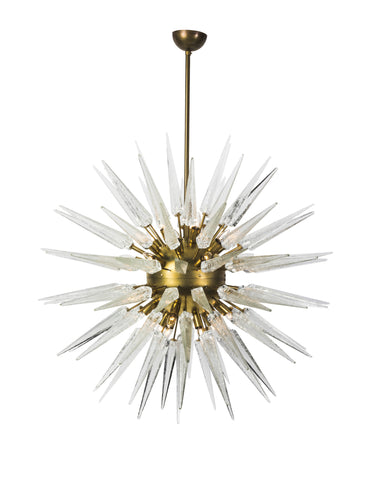 Magnificent Mid-Century Modernist Sputnik Chandelier With Murano Glass Spikes - Art Deco Antiques  - 1