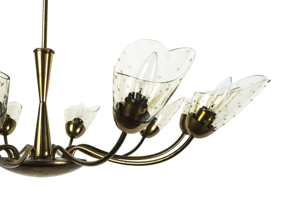 Sensational Italian Mid-Century Modernist Chandelier With Floral Motif - Art Deco Antiques  - 3