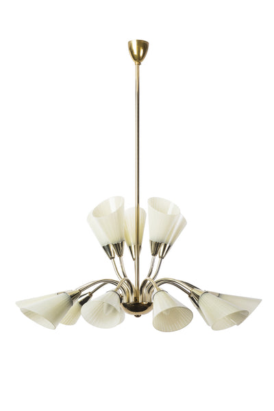 Sensational Mid-Century Modernist Tulip Chandelier In The Manner of Adnet