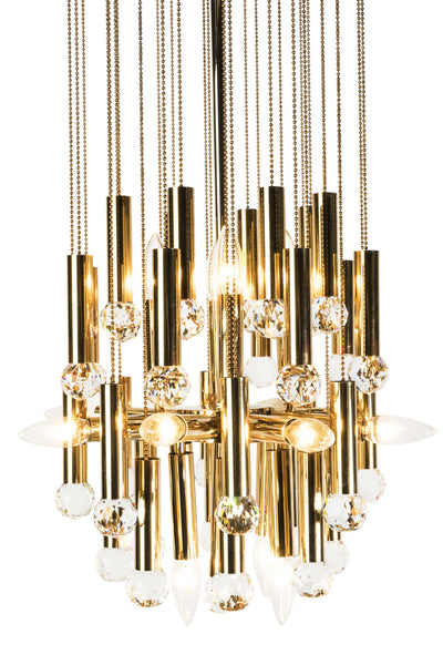 Stunning Ernst Palme Swarovski Crystal And Gilt Brass Chandelier - Art Deco Antiques  - 4