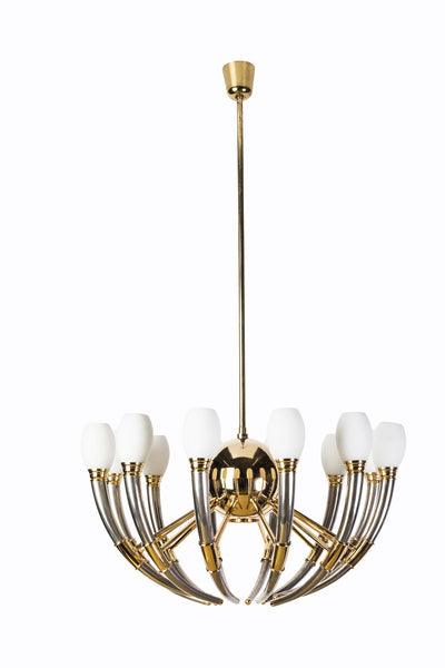 Gorgeous 13-Light Silver, Gold & Opal Glass Regency Chandelier - Art Deco Antiques  - 1
