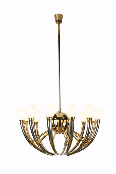 Gorgeous 13-Light Silver, Gold & Opal Glass Regency Chandelier - Art Deco Antiques  - 2