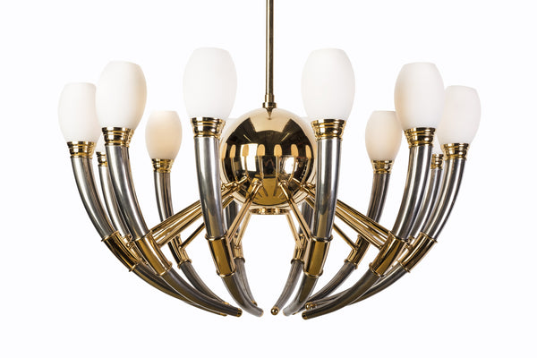 Gorgeous 13-Light Silver, Gold & Opal Glass Regency Chandelier - Art Deco Antiques  - 3