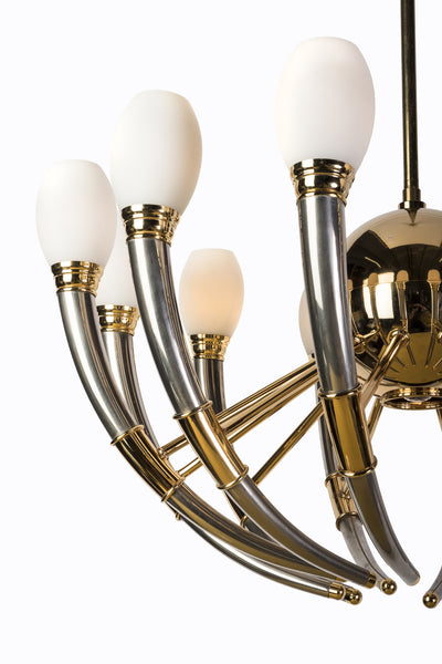 Gorgeous 13-Light Silver, Gold & Opal Glass Regency Chandelier - Art Deco Antiques  - 5