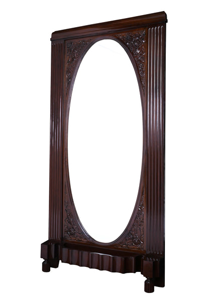 Impressive Solid Mahogany Art Deco Freestanding Grand Mirror - Art Deco Antiques  - 1
