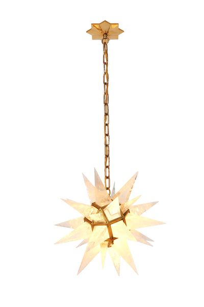 Quartz Star Chandelier With Antique Brass Frame - Art Deco Antiques  - 3