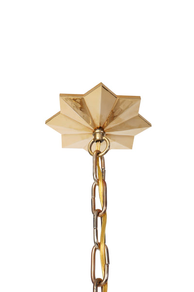 Quartz Star Chandelier With Antique Brass Frame - Art Deco Antiques  - 7