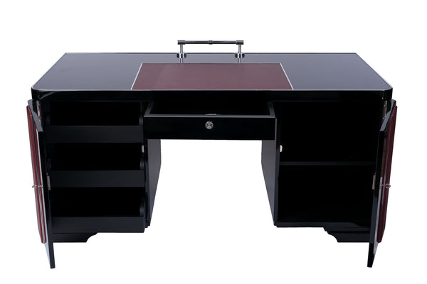 Art Deco Desk With Leather Applications