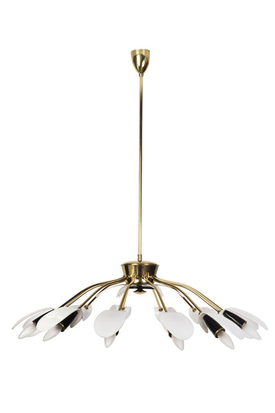 Exceptional 1950's Mid-Century Modernist Black Spider 12-Light German Sputnik Chandelier Pendant