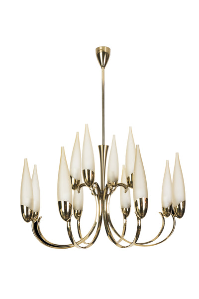 Wonderful 1950's Italian Candelabra Chandelier In The Manner Of Stilnovo