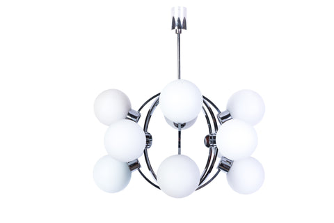 1970's Mid-Century Modernist Atomic Chrome Sputnik Chandelier