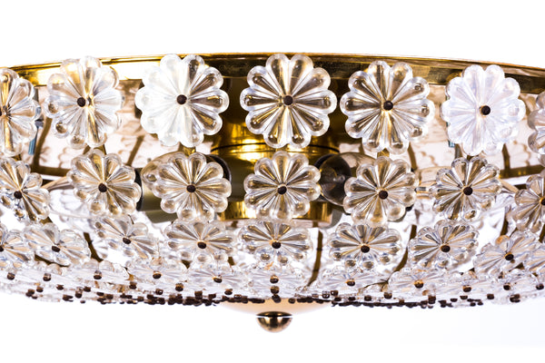 Chic Colossal H. Richter Glass Flowers Wall / Ceiling Plafoniere / Flush-Mount