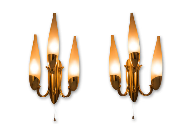 Wonderful Pair of 1950's Italian Candelabra Sconces In The Manner Of Stilnovo
