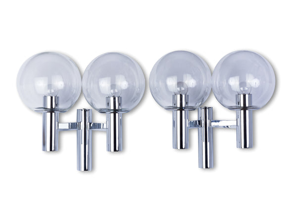 Pair Of Chrome And Glass Wall Sconces by OTT International