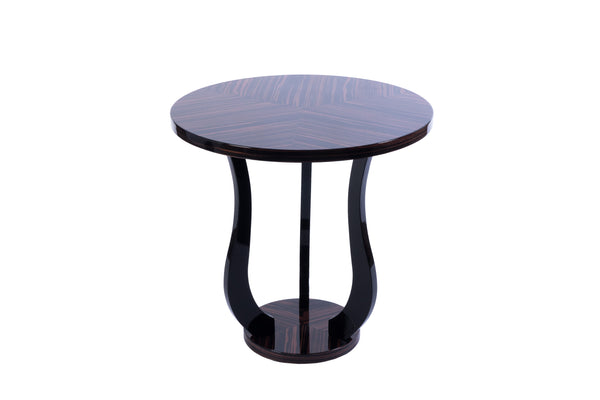 Sensational French Art Deco Style Tulip Side Table In Macassar