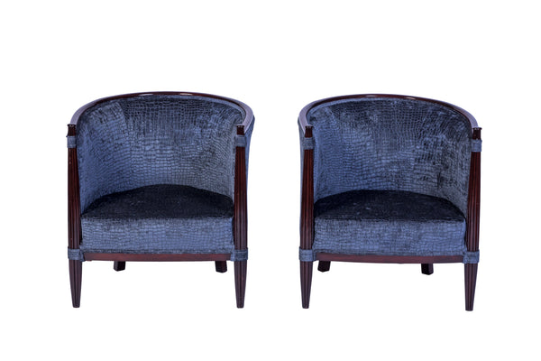 Exceptional Pair Of Red Mahogany Club Chairs in Gray Velvet