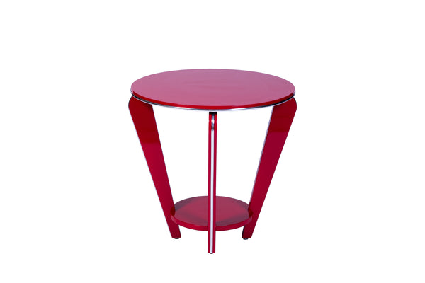 Art Deco Style Side Table In Crimson Lacquer