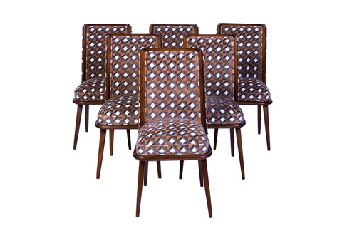 Set Of Six Mid-Century Modernist Dining Chairs