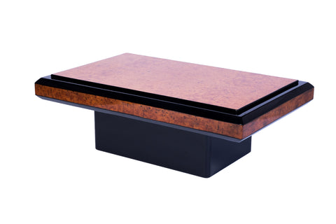 French Art Deco Burl Wood And Black Lacquered Coffee Table